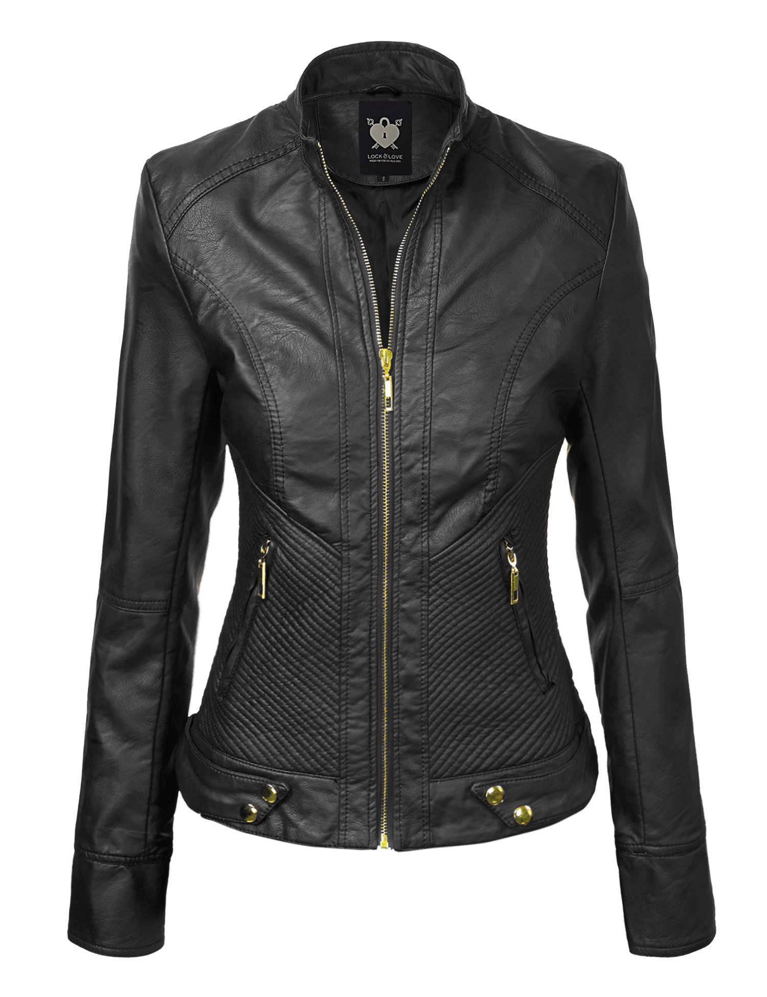 Lock and Love WJC747 Womens Dressy Vegan Leather Biker Jacket L Black by Lock and Love
