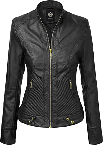 Lock and Love LL WJC747A Womens Dressy Vegan Leather Biker Jacket XS Black