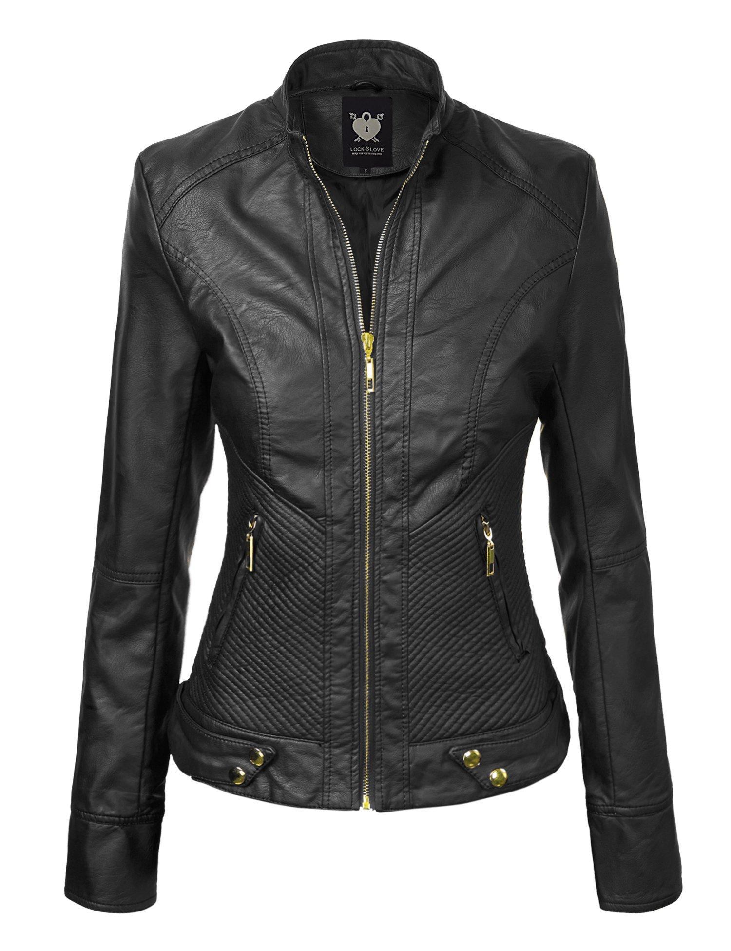 WJC747 Womens Dressy Vegan Leather Biker Jacket M Black