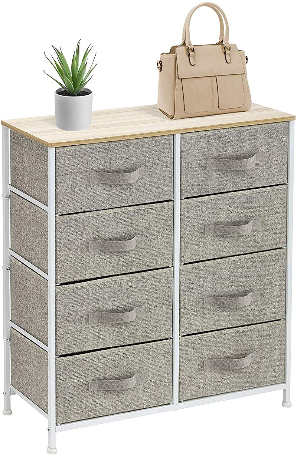 Sorbus Dresser with 8 Drawers - Furniture Storage Chest Tower Unit for Bedroom, Hallway, Closet, Office Organization - Steel Frame, Wood Top, Easy Pull Fabric Bins (Beige)