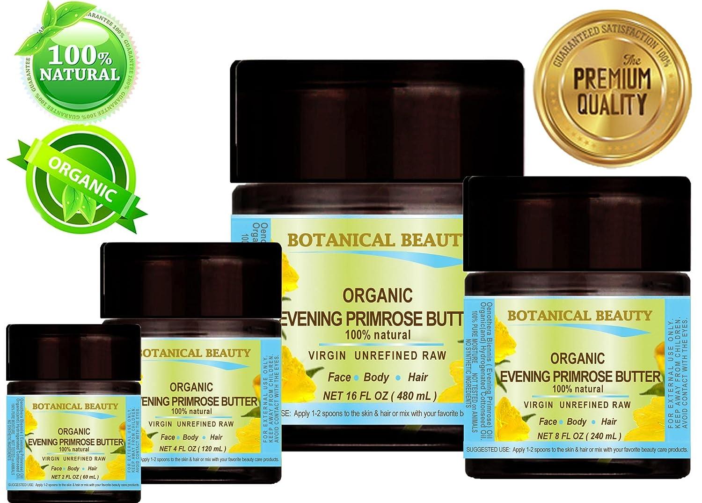 MANTEQUILLA DE ACEITE DE PRIMROSE ORGÁNICA. 100% natural / SIN PROCESAR / VIRGEN / SIN REFRIGERAR. 4 fl oz - 120 ml. para CARA, CUERPO, MANOS, PIES, ...