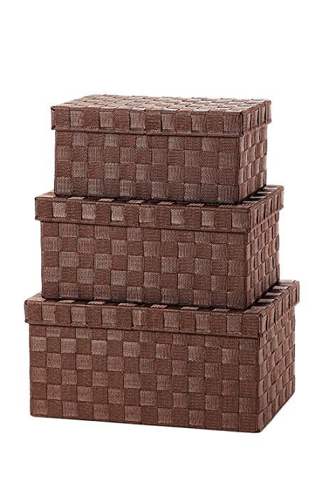 Storage Baskets   3 Piece Nesting Baskets, Brown Woven Fabric Storage Cube  Containers