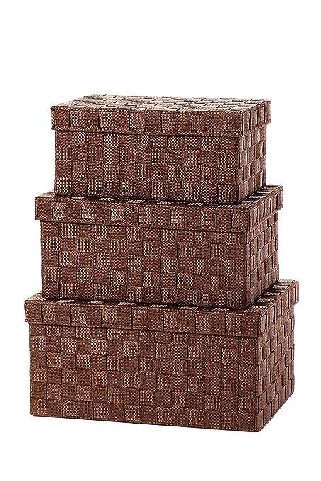 Amazoncom Storage Baskets 3 Piece Nesting Baskets Brown Woven