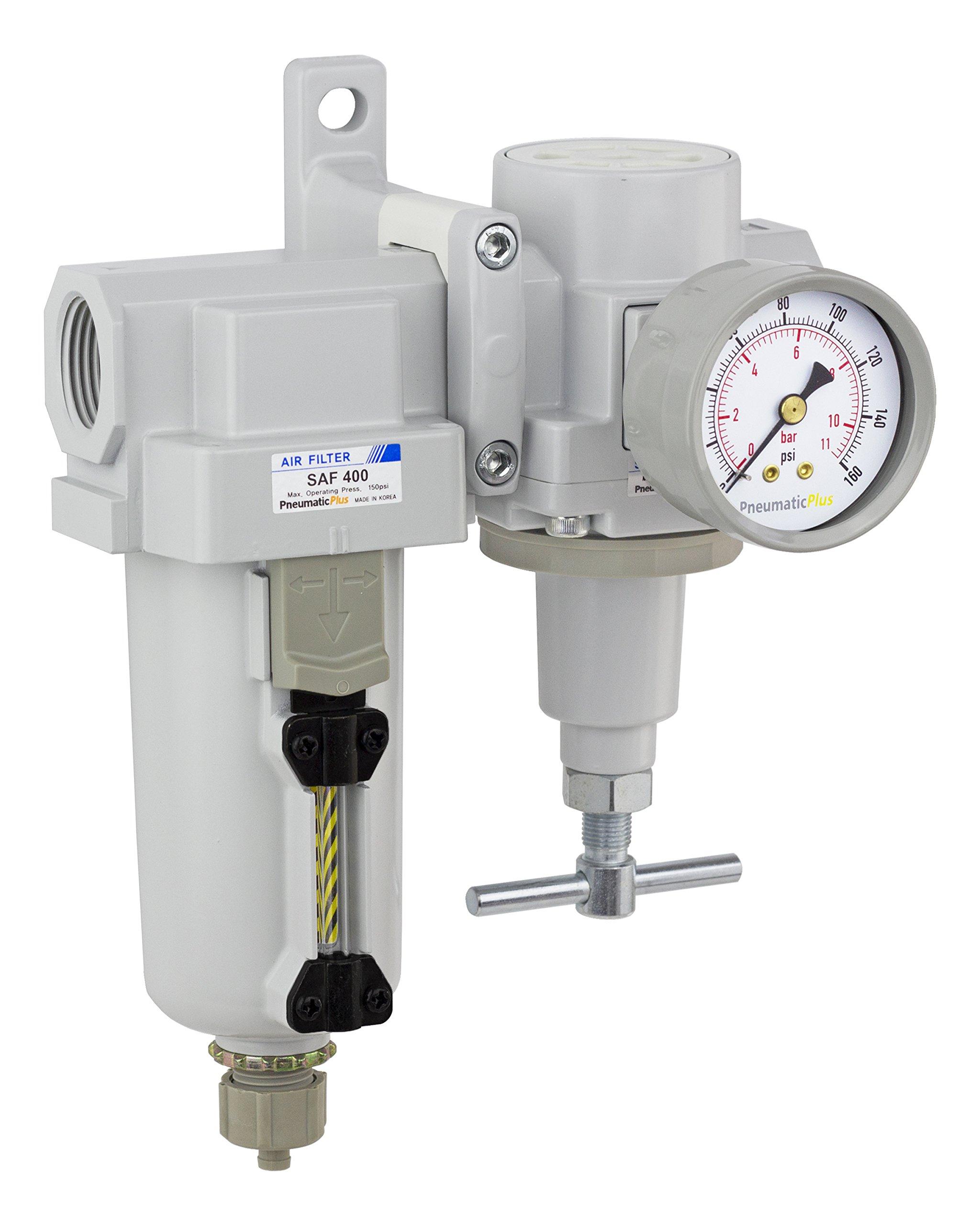 PneumaticPlus SAU420T-N06G-MEP Air Filter Regulator Combo 3/4'' NPT -T-Handle, Manual Drain, Metal Bowl by PneumaticPlus