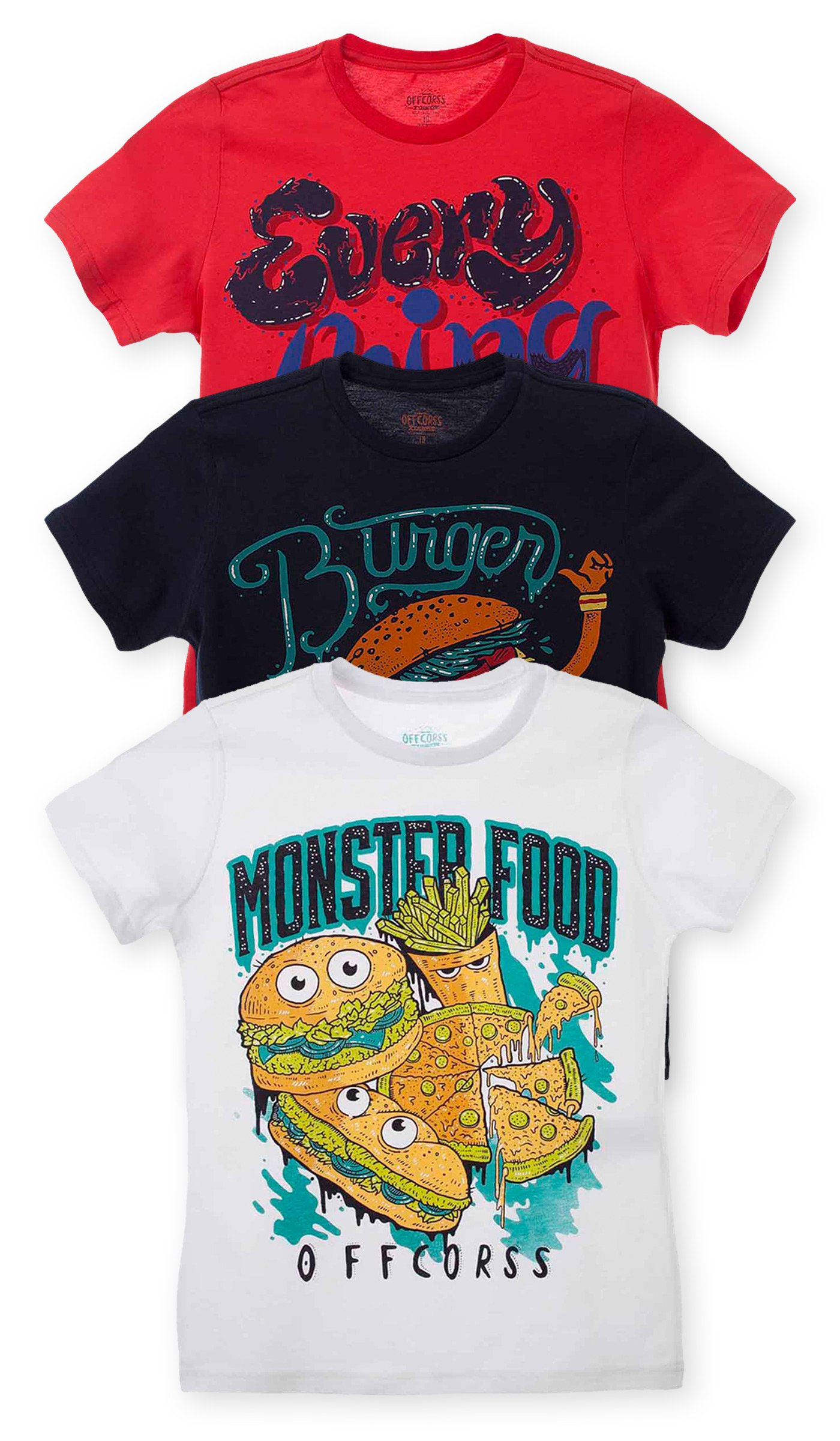 OFFCORSS Trendy Stylish Short Sleeve Tshirt for Kids Camisetas De Niños 3Pack 10