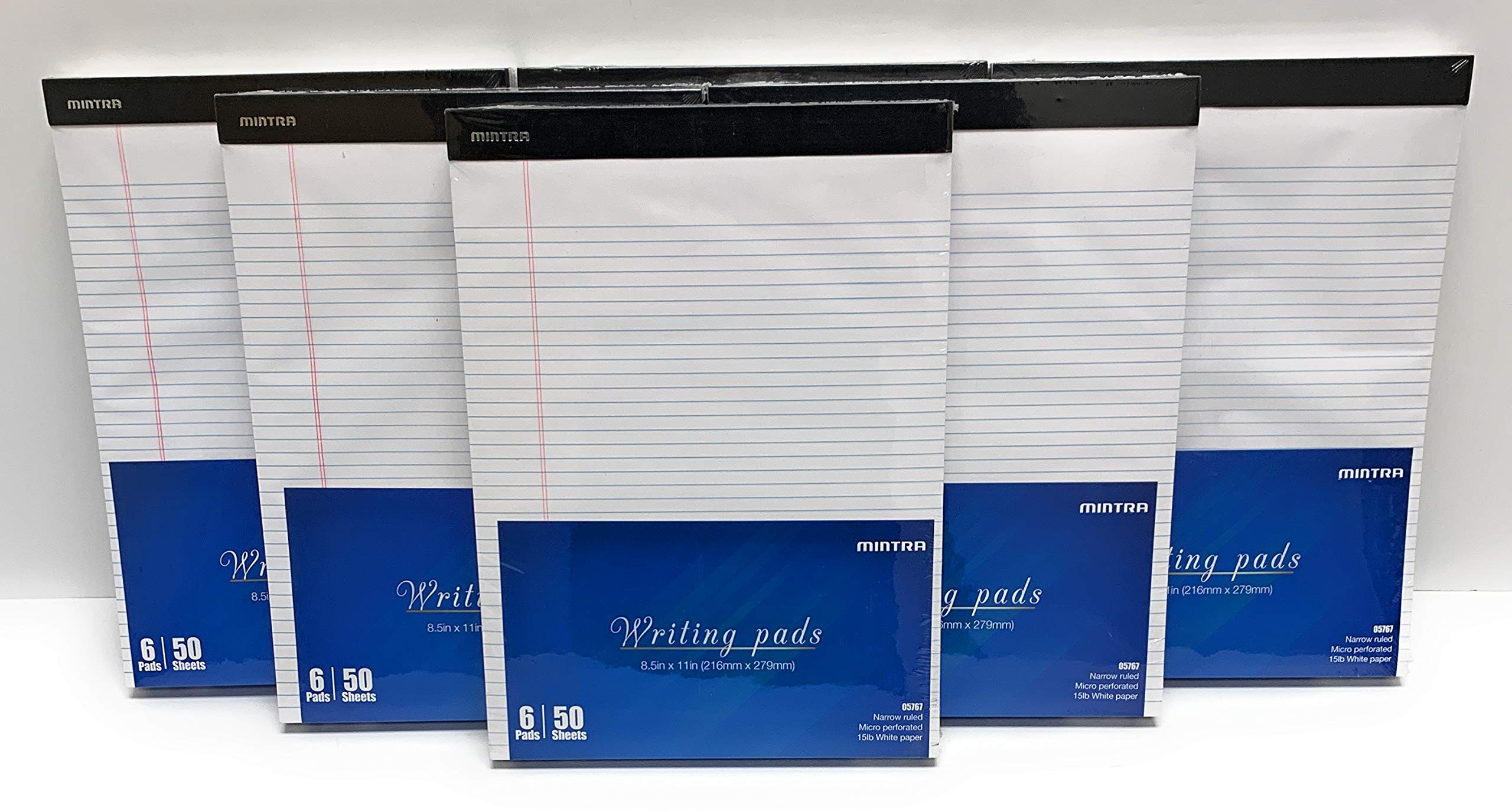 Mintra Office Legal Pads - 50 Sheets per Notepad - Micro perforated Writing Pad/Notebook Paper for School, College, Office, Work (xBasic, 8.5in x 11in, Narrow (White), 36pk (6-6pks)) by Mintra Office