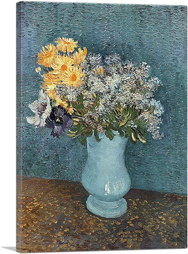 Amazon Com Artcanvas Vase Of Flowers 1887 Canvas Art Print By Vincent Van Gogh 26 X 18 0 75 Deep Posters Prints