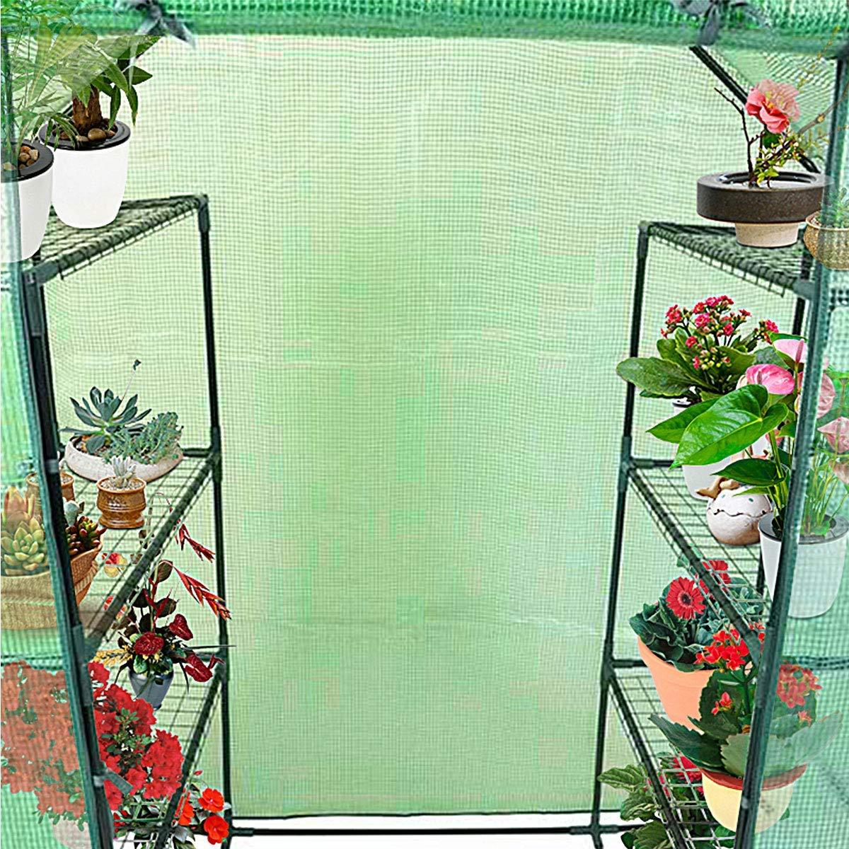 Goplus Green House Walk in Plant Gardening Greenhouse Plastic 4-Tier 8 Shelves for Indoor Outdoor 4.9/' x 2.5/'x 6.4/'