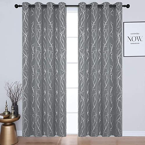 Estelar Textiler Elegant Tree Branches Design Blackout Curtains 96 Inches Long 2 Panels Grommet Thermal Insulated Window Curtains for Bedroom 52W x 96L Grey