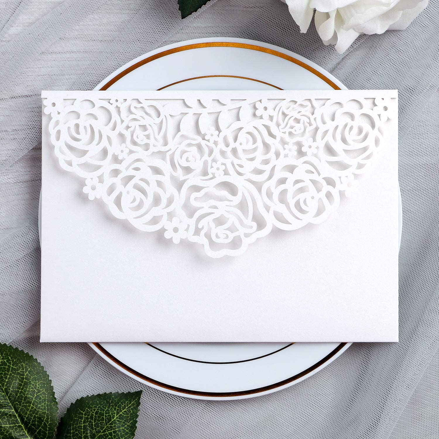 YIMIL 20 Pcs 5.12 x 7.21 inch Tri-fold Laser Cut Wedding Invitation Pocket for Wedding Quinceanera Bridal Shower Baby Shower Party Invite (White)