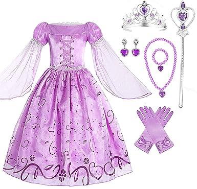 Amazon.com: Vestido de fiesta disfraz de princesa Rapunzel ...