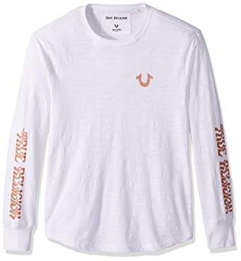 4408a8e1 Amazon.com: True Religion Men's Long Sleeve Distorted Logo Tee, Optic White  XL: Clothing