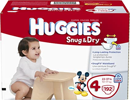 Size 4 192 Count,... fits 22-37 lbs. HUGGIES Snug /& Dry Baby Diapers
