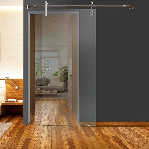 Correderas de cristal para puertas de vidrio transparente QSS010 - V1000 - GM 900 x 2050 mm DIN derecha de vidrio de seguridad de 8 mm con mango de concha de acero
