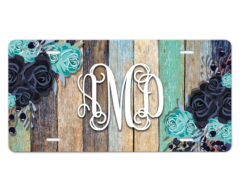 Blue Flowers on Wood Design Custom Monogram Front Car Plate