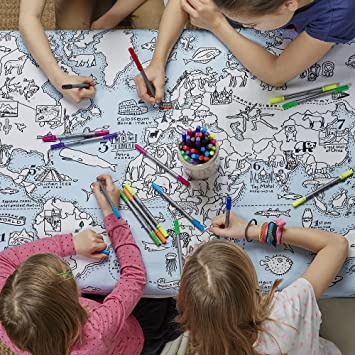 World map cotton tablecloth with wash out fabric pens colour and world map cotton tablecloth with wash out fabric pens colour and learn gumiabroncs Gallery