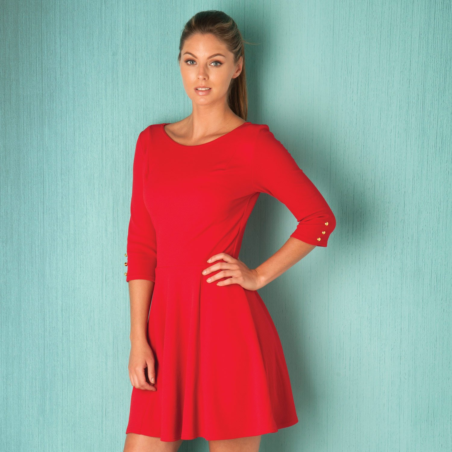 Amazon.com: Clubl Women\'s Crepe 4 Sleeve Dress 8 Red: ClubL: Clothing