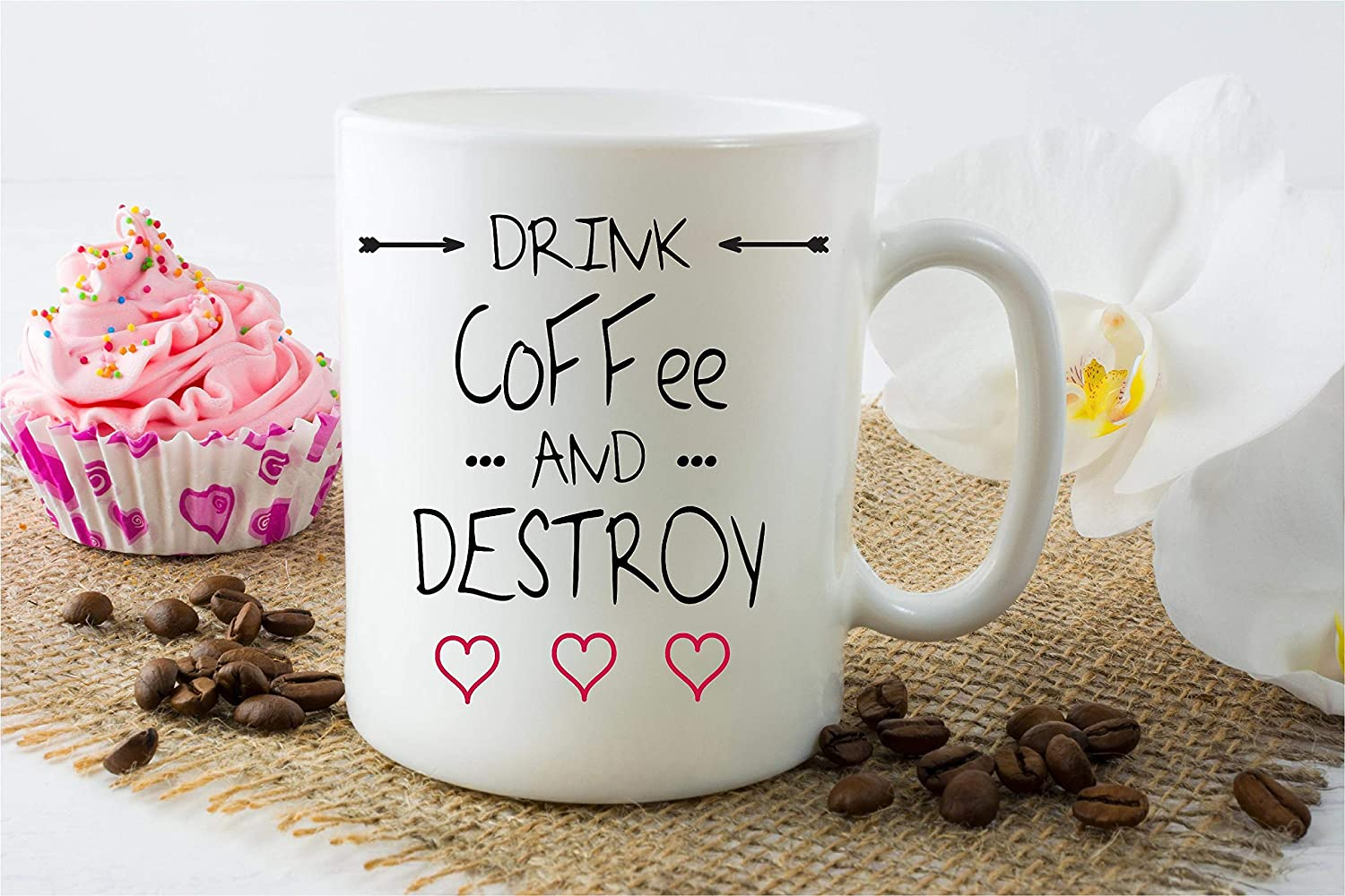 79aaef108 Drink Coffee and Destroy Funny Coffee Mug Great Gift Idea Perfect for Home  or The Office 11oz Ceramic Coffee or Tea Cup by ExpressionMugs:  Amazon.co.uk: ...