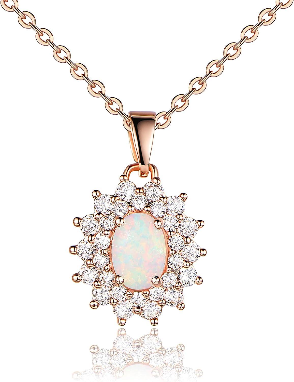KristLand - Collar con colgante de flor de circonita cúbica para mujer, chapado en oro blanco fuego/ópalo azul