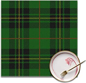 Washable Placemats for Dining Room Set of 4, Polyester Fancy Placemat 12 by 12 Inch, Scottish Tartan Plaid Green Black Table Place Mats Protector Easy Clean Reusable for Home Party Holiday Use