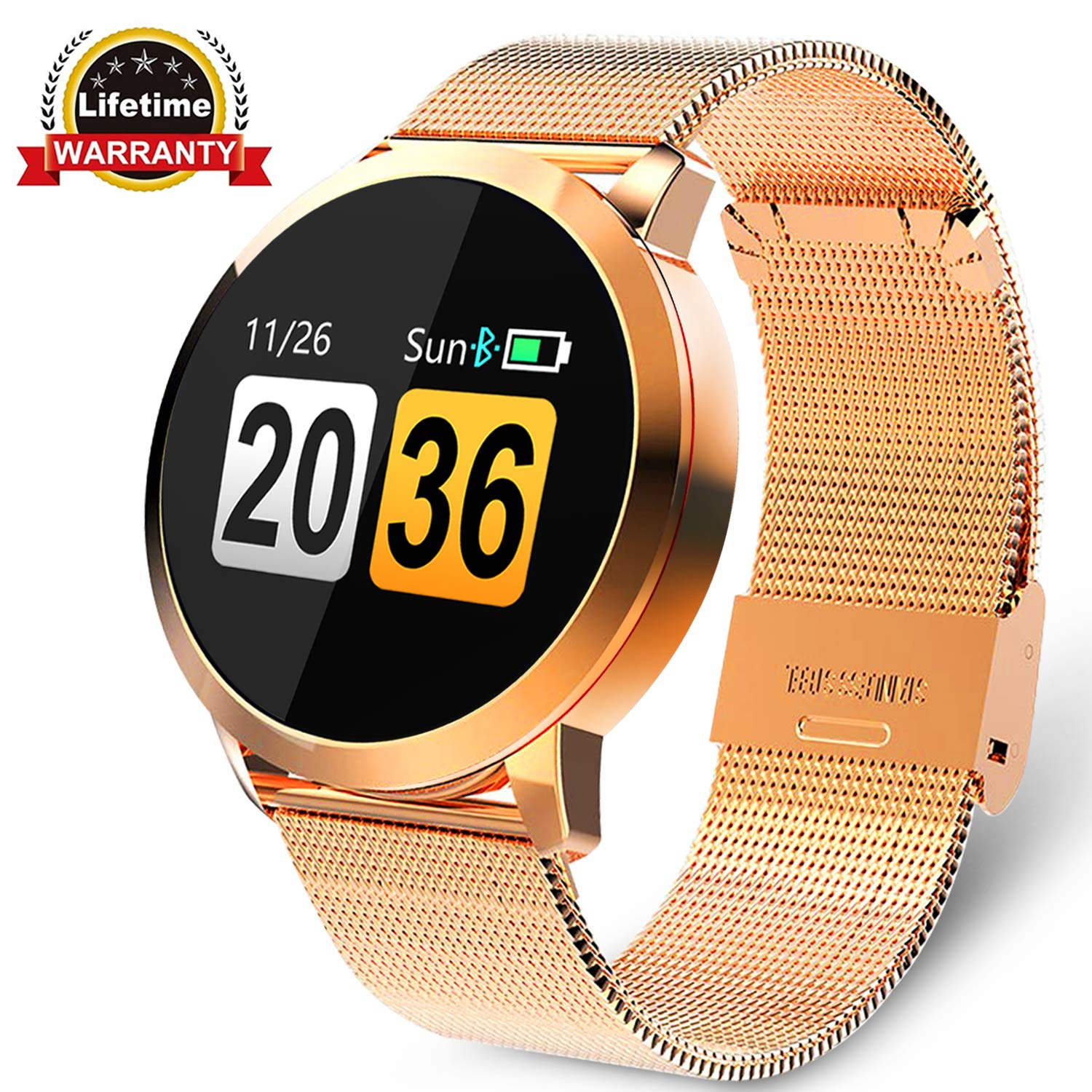 Fitness Tracker with Blood Pressure Monitor Bluetooth Smart Watch with Camera Touchscreen Waterproof Smartwatch Android iOS Heart Rate and Activity Tracking Birthday Gifts for Her His - Gold