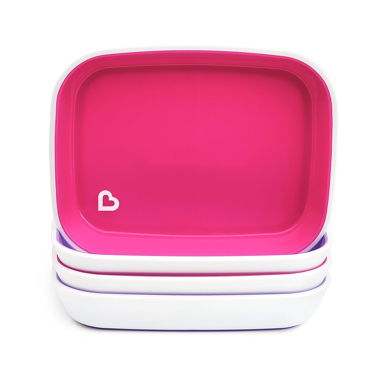 Munchkin Splash Toddler Plates, Pink/Purple, 4 Pack Inc. 27166