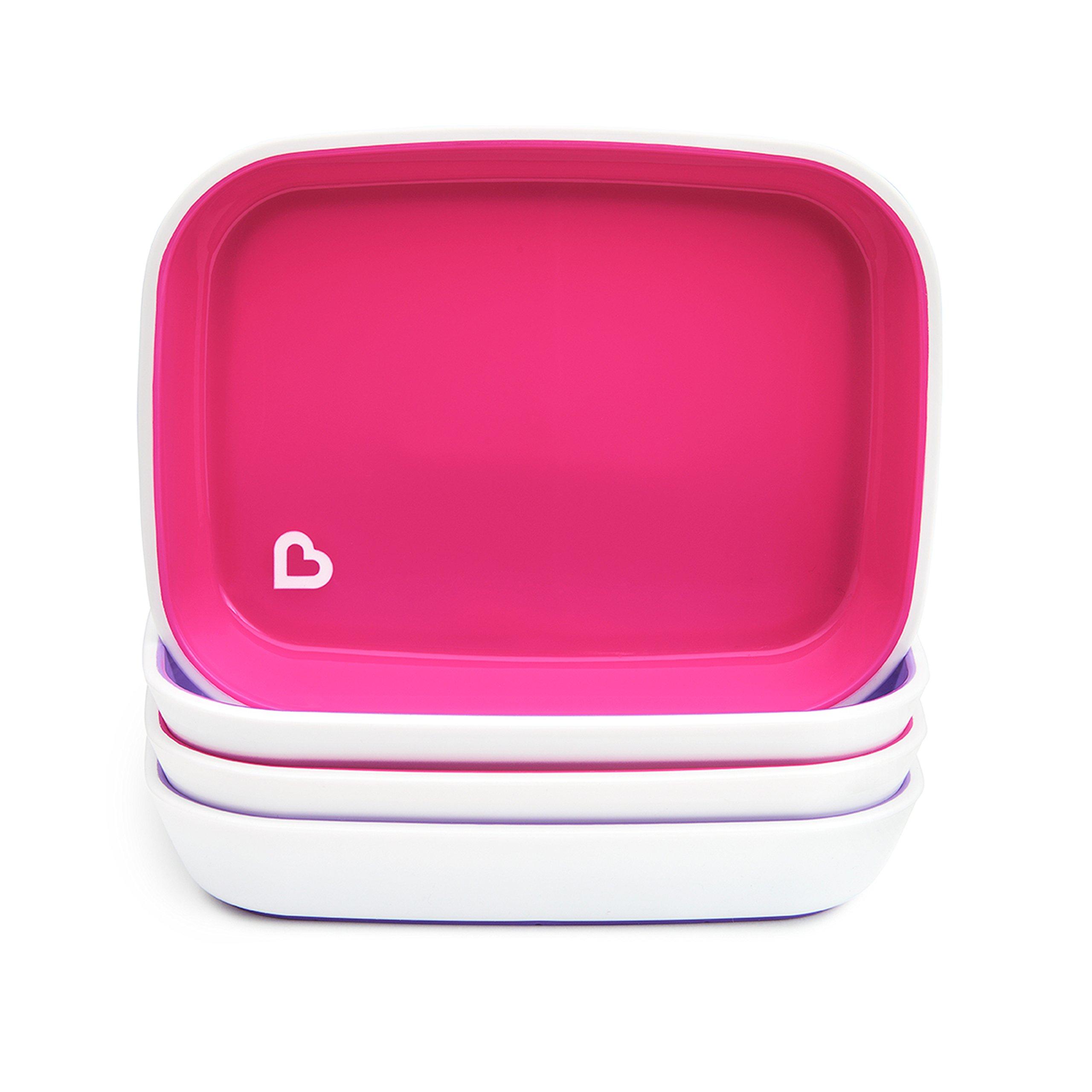 Munchkin Splash 4 Piece Toddler Plates, Pink/Purple