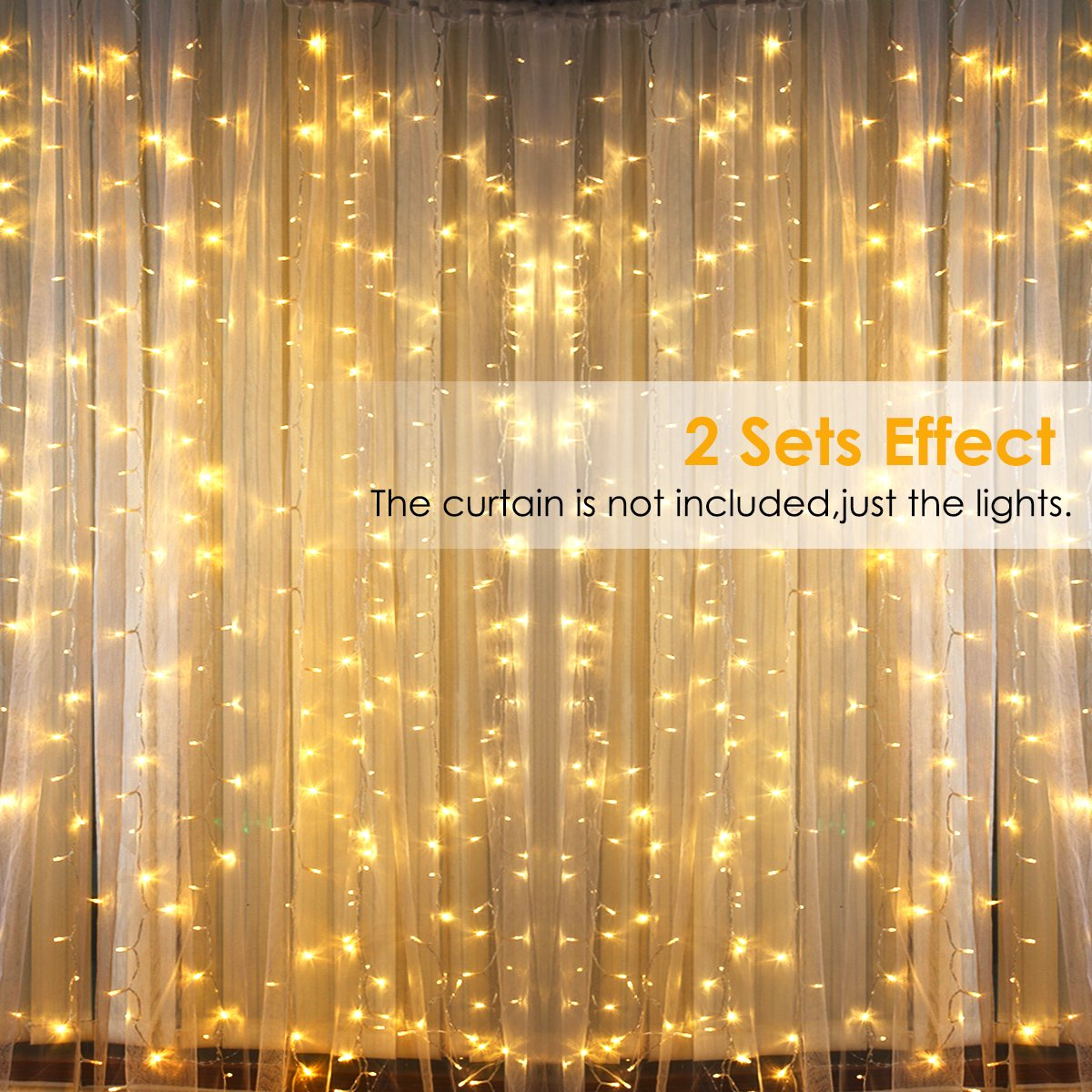 GDEALER 300 Led Window Curtain Lights with Timer,Remote Control String Lights Fairy Lights for Wedding Party Bedroom,6.6x6.6ft Hanging Lights Twinkle Lights Christmas Lights Wall Decor Warm White by GDEALER (Image #7)