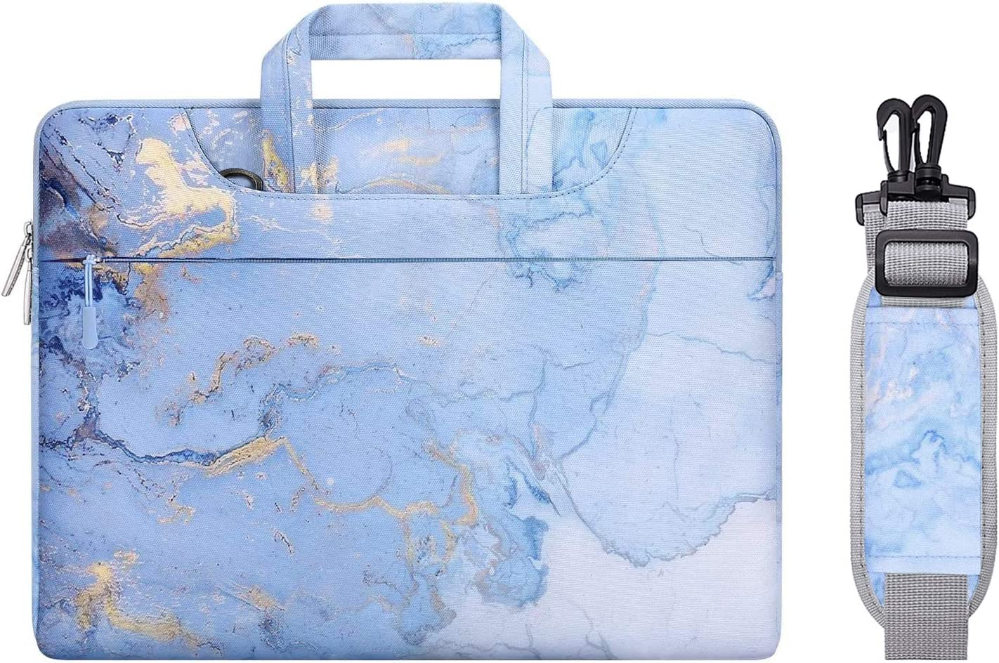 MOSISO Laptop Shoulder Bag Compatible with 2019 MacBook Pro 16 inch A2141, 15 15.4 15.6 inch Dell Lenovo HP Asus Acer Samsung Chromebook,Polyester Watercolor Marble Carrying Briefcase Sleeve, Blue