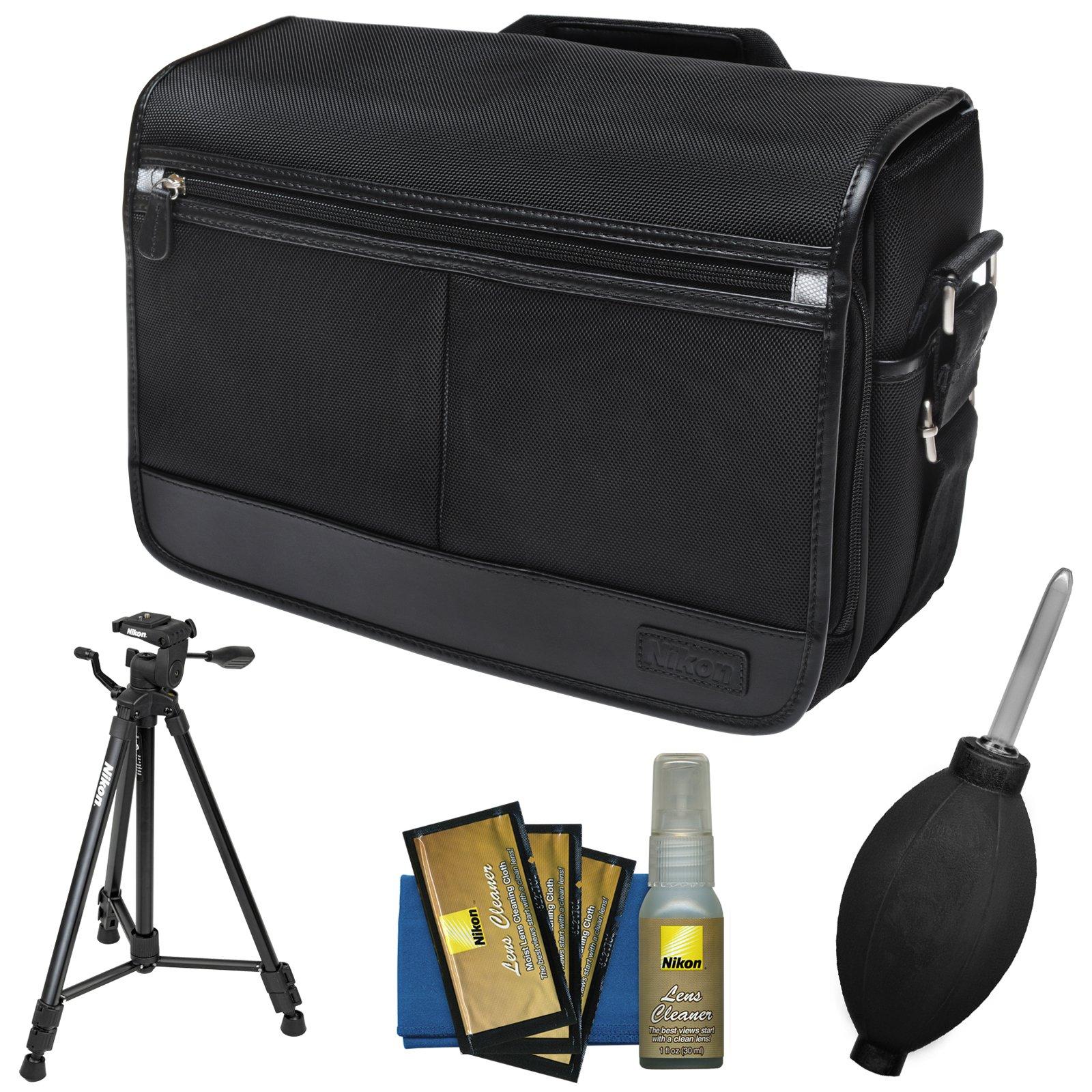 Nikon DSLR Camera/Tablet Messenger Shoulder Bag with Nikon 60'' Tripod + Kit for D4s, Df, D810, D750, D610, D7200, D7100, D5500, D5300, D3300, D3200