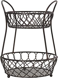 Gourmet Basics by Mikasa Loop and Lattice Wire Basket, Antique Black