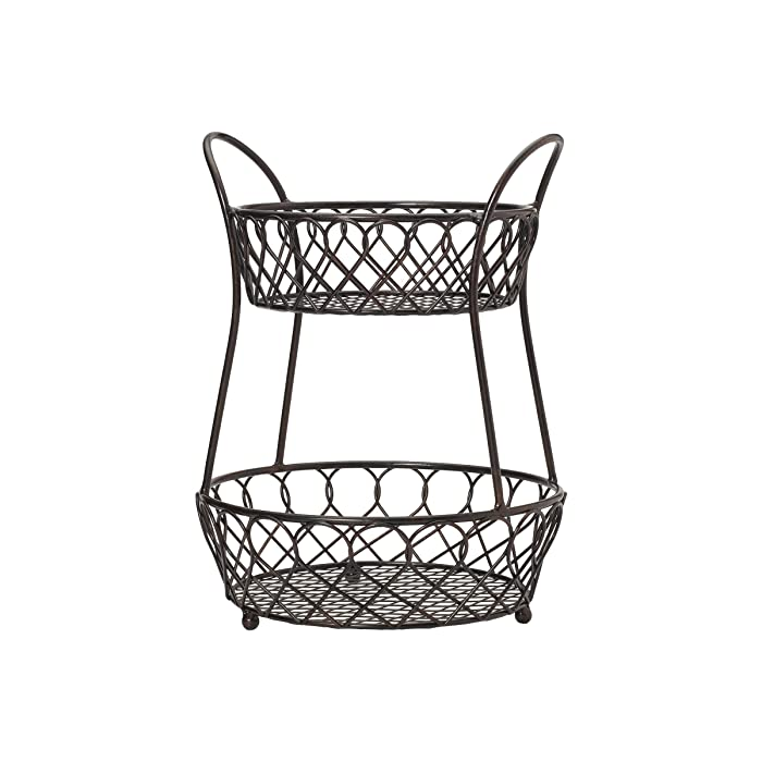Gourmet Basics by Mikasa 5158748 Loop and Lattic wire basket Antique Black