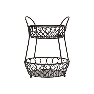 Gourmet Basics by Mikasa 5158748 Loop and Lattice wire basket, Antique Black
