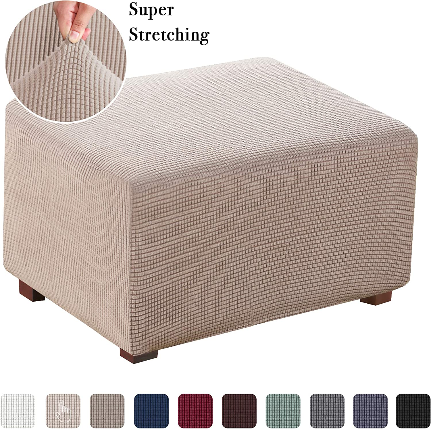 Oversized Ottoman Slipcover Jacquard Polyester Stretch Fabric Rectangle Folding Storage Stool Ottoman Cover Furniture Protector for Living Room (Oversized, Sand)