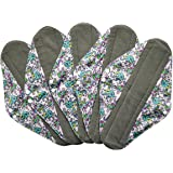 5 Pieces Charcoal Bamboo Mama Cloth/ Menstrual Pads/ Reusable Sanitary Pads (Overnight (14 inch), Colorful Elephant)