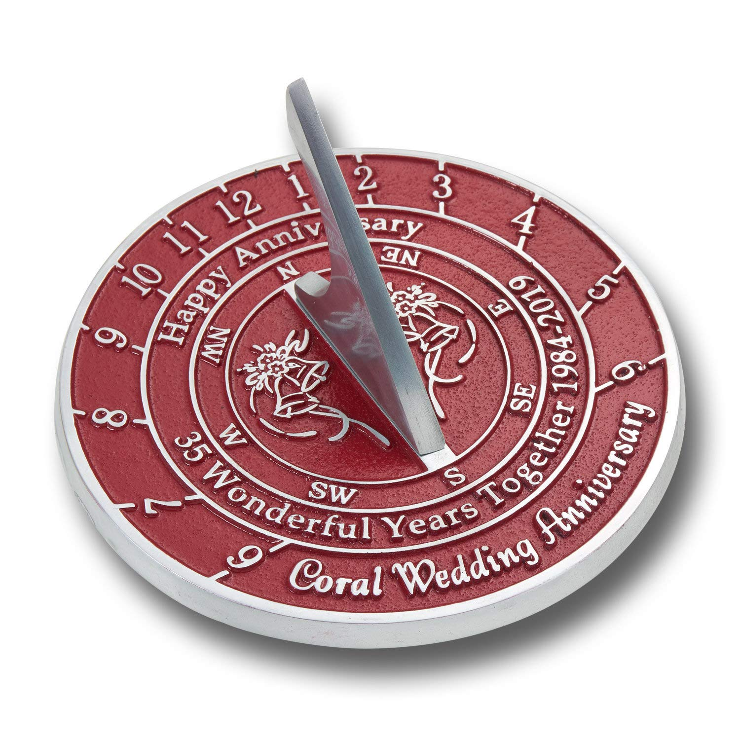 for Her Or for A Couple to Celebrate NAUTICALMART Looking for The Best 10th Tin Wedding This Unique Sundial Gift Idea is A Great Present for Him 40th - Ruby