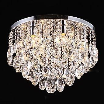 Diy Familymodern Crystal Ceiling Lamp Round Pendant Light Flush