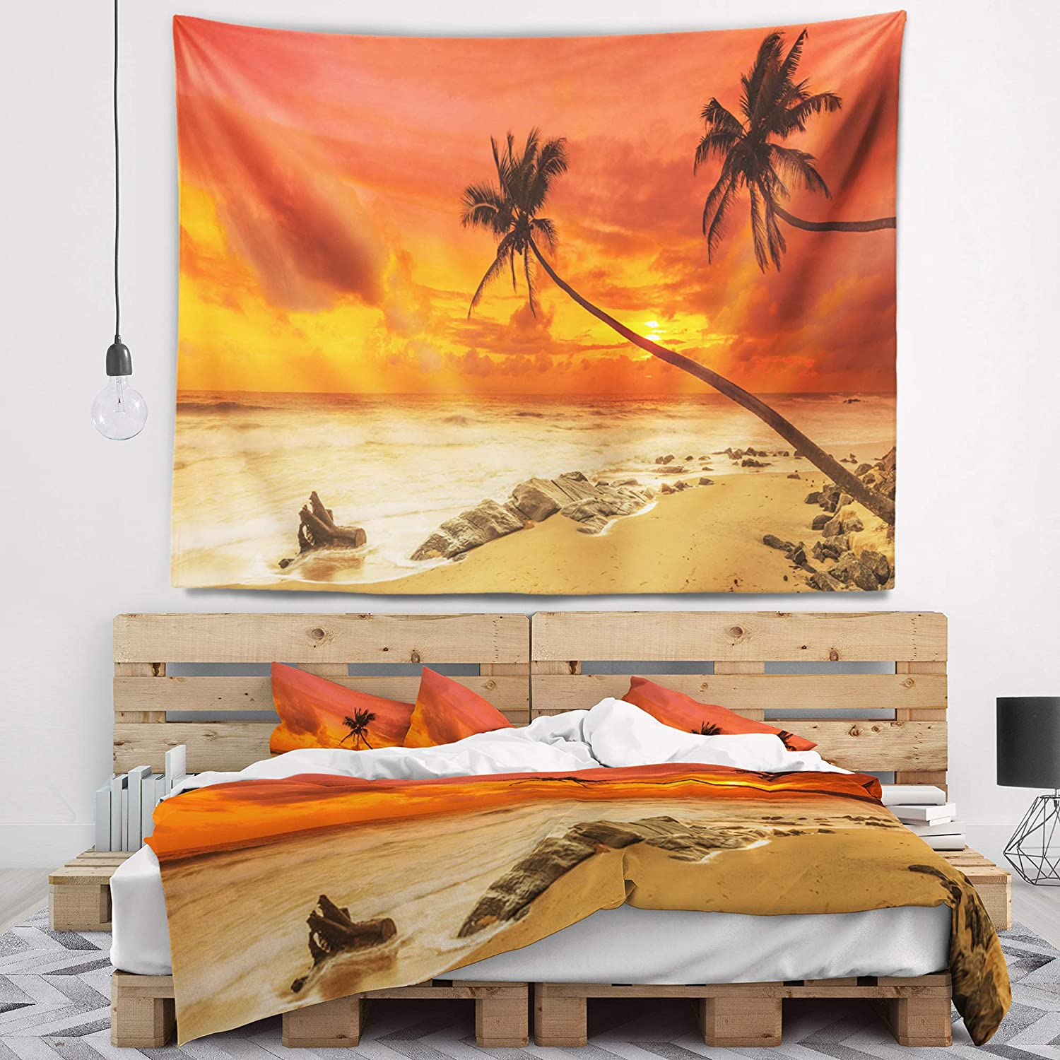 in Designart TAP11312-80-68  Palms Silhouettes Bent Seashore Blanket D/écor Art for Home and Office Wall Tapestry x Large 80 in x 68 in