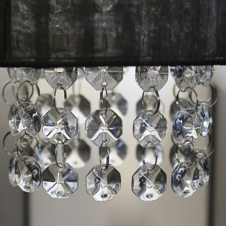 L/ámpara de techo lux.pro cromo//negro E 14 Dise/ño excepcional - Iluminaci/ón colgante Cristal artificial L/ámpara colgante