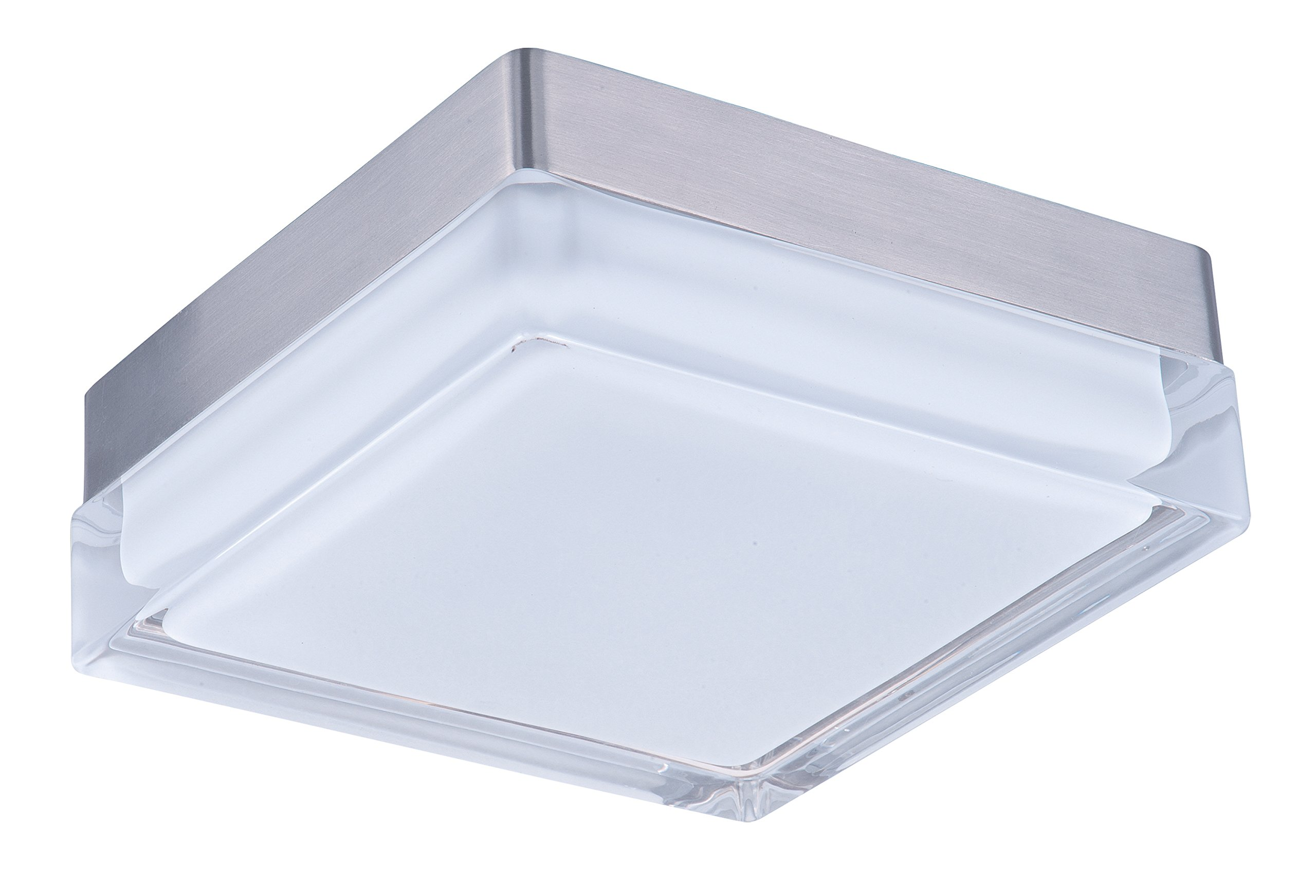 Maxim 87644CLWTSN Illuminaire LED Flush Mount, Satin Nickel Finish, Clear/White Glass, PCB LED Bulb , 60W Max., Damp Safety Rating, Standard Dimmable, Shade Material, 2016 Rated Lumens