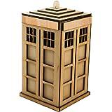 "Crafts - Police Call Box - 23 Piece Art Kit - RAW Wood 3.5""x6.5"""