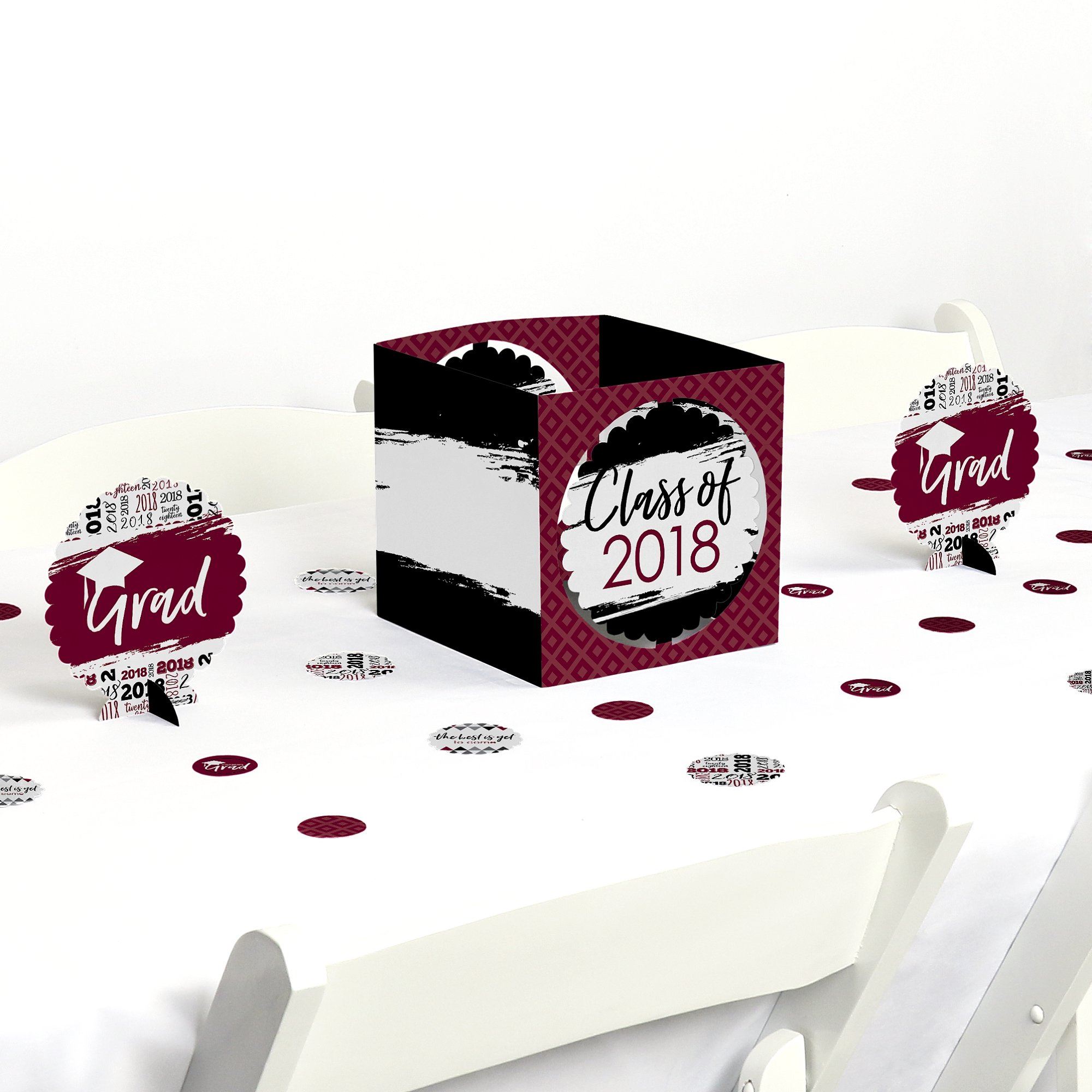 Maroon Grad - Best is Yet to Come - Burgundy 2018 Graduation Party Centerpiece & Table Decoration Kit
