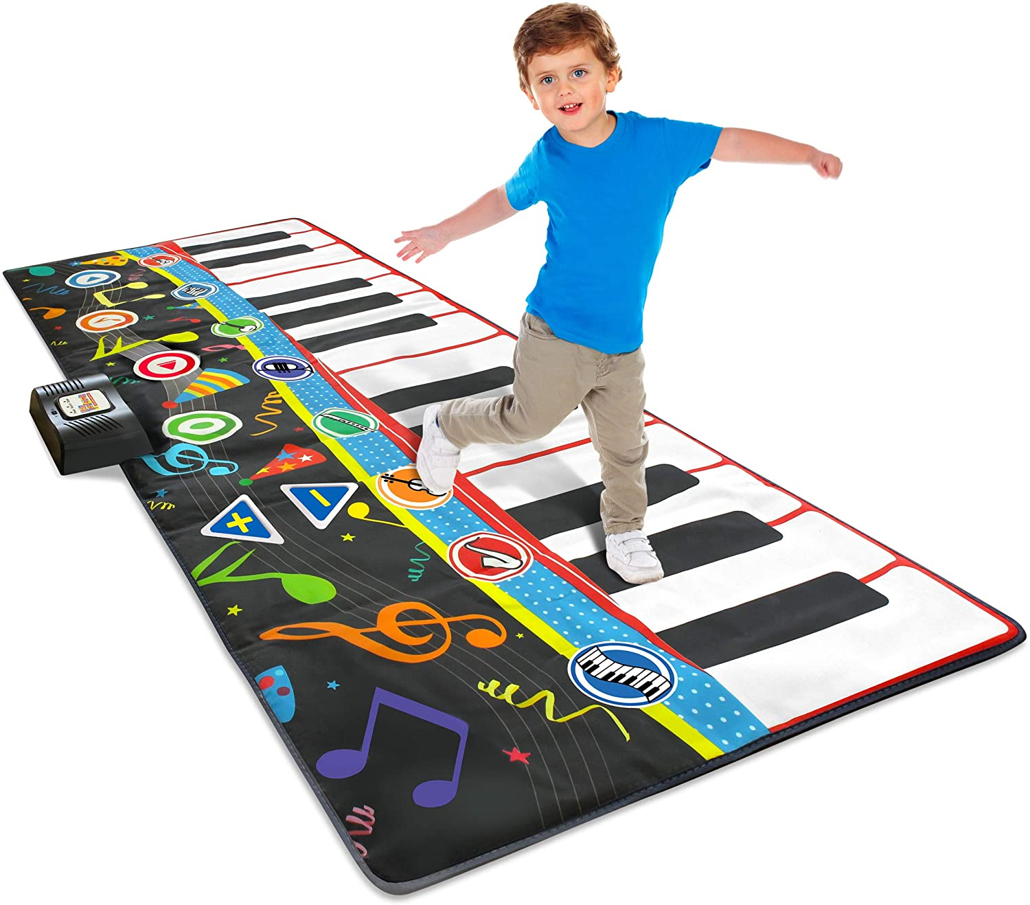 """Jumbo Piano Mat 70/"""" Inches Wide! 8 Instrument Sounds 4 Play Modes Little Performer Giant Floor Piano Mat for Kids Floor Piano for Kids and Toddlers Ages 3 +"""