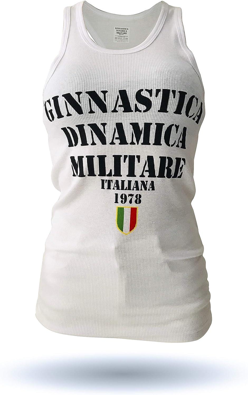 GDMI Ginnastica DINAMICA Militare Italiana Canotta da Donna Modello Nuovo Logo Frontale New Senza Maniche Girocollo vestibilit/à Piccola