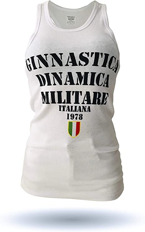 vestibilit/à Piccola Grafica Logo GDMI sul Retro GDMI Ginnastica DINAMICA Militare Italiana Canotta Donna Liscia Senza Maniche