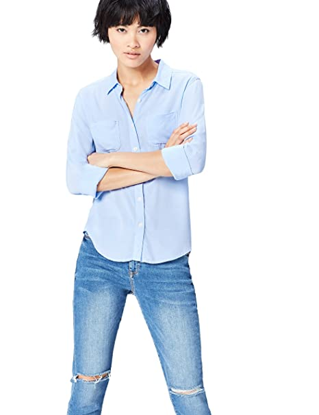 FIND Camisa de Manga Larga con Bolsillos para Mujer , Azul (Light Blue),