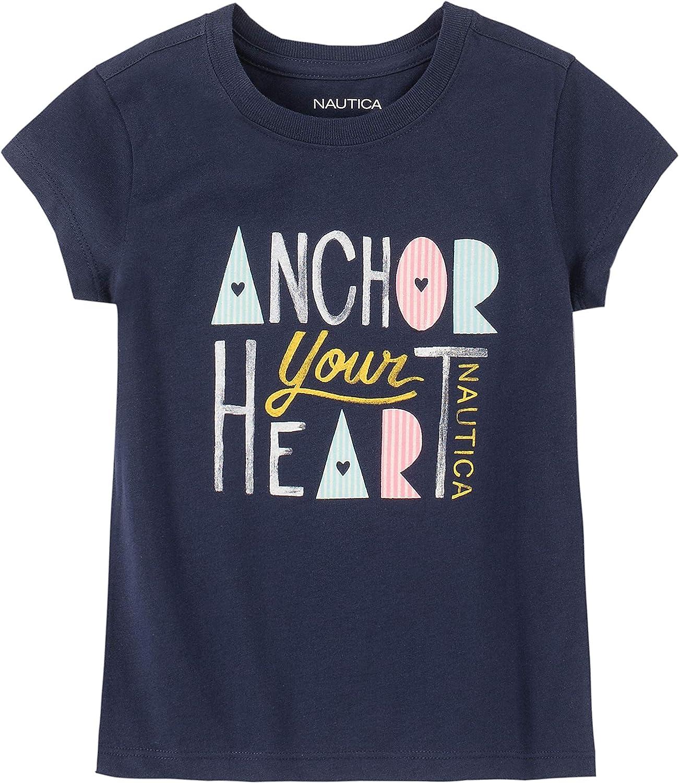 Nautica Girls Short Sleeve Graphic Tee Shirt