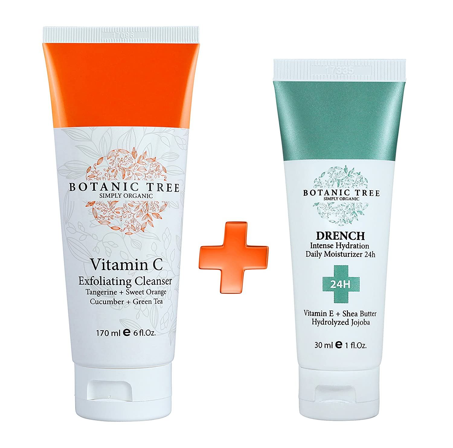 Vitamin C Exfoliating Cleanser 6 Oz w/10% of Vitamin C- Anti Aging Face Wash+Drench Intense Hydration 24Hrs(Pack of 2)- Reduction For Wrinkles and Lines -Green Tea,Cucumber,Tangerine and Sweet Orange.