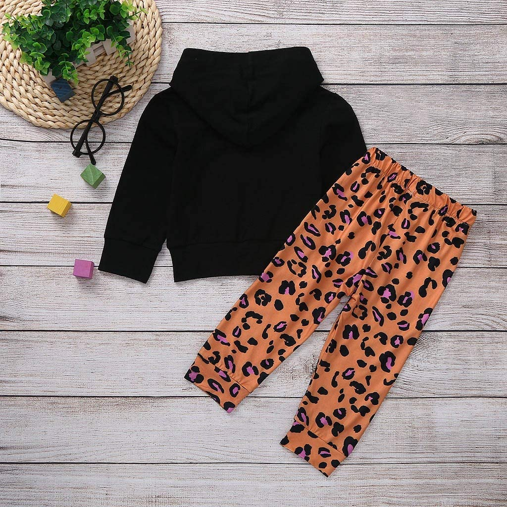 VEKDONE Toddler Baby Girls Outfits Love Leopard Print Hoodie Tops+Leopard Pants Infant Fall Winter Clothes Set