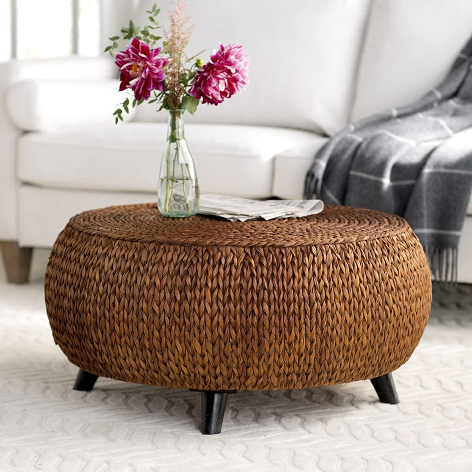 bfc52a195308 Amazon.com  Round Coffee Table - Woven Banana Leaf Accent Cocktail Table -  Drum Shaped Design (Gold Patina)  Kitchen   Dining